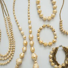 Sparkly + gold All day every day. Paper Jewelry, Paper Beads, Pearl Necklace, Beaded Necklace, Uganda, Fashion Art, Doodles, Sparkle, Jewels
