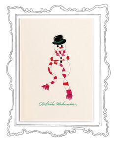Schneemann Was gibt es Schöneres als in der glitzernden Weihnachtszeit liebe Menschen mit herzlichen Zeilen zu überraschen und etwas Weihnachtszauber zu verschicken. Das Weihnachtskarten schreiben ist eine zauberhafte Tradition, die zu Weihnachten – dem Fest der Liebe und Familie – einfach dazugehört.  Die elegante Klappkarte, in einem zarten Cremeweiß, hat das Format 118 x 168 mm ( 200g ) und der Umschlag 125 x 176 mm (120g ).