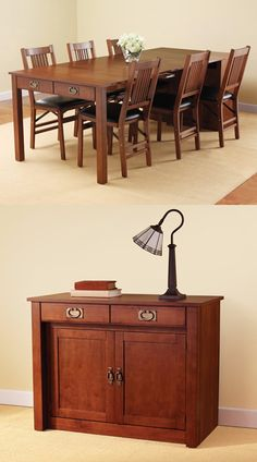 The Expanding Dining Table Hutch. $599.95 would be great for small living spaces...pop it out only when needed
