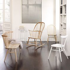 my 2 Ercol kids stacking chairs - painted white? or blue? or grey?