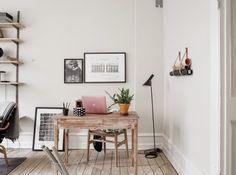 wooden desk, pink macbook cover