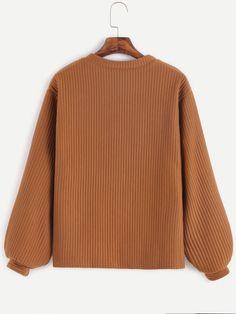 Khaki Long Sleeve Ribbed Sweatshirt