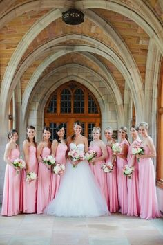 Pink Bridesmaids Dresses wedding pink Hermitage Hotel Nashville Wedding from Kristyn Hogan Bridesmaids And Groomsmen, Wedding Bridesmaids, Wedding Dresses, Pink Bridesmaid Dresses Long, Long Dresses, Wedding Bells, Wedding Ceremony, Dream Wedding, Wedding Day