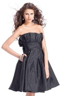 Traditional Ball Gown Short Strapless Black Taffeta Dress