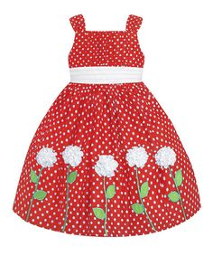 American Princess Red & White Polka Dot Rosette Dress - Toddler & Girls | zulily