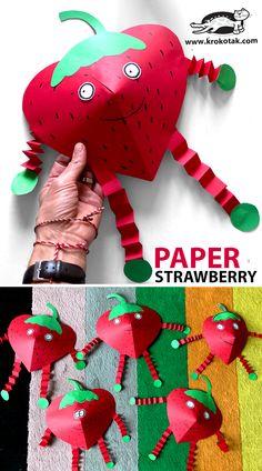 Flower Crafts Kids, Diy Crafts For Kids Easy, Easy Paper Crafts, Summer Crafts, Toddler Crafts, Preschool Crafts, Strawberry Crafts, Strawberry Art, Origami