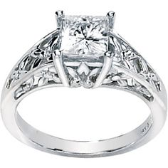 14K White Gold 06.00 Mm   1 1/4 Ct Created Moissanite Engagement Ring  #177554 - IceCarats