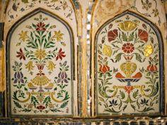 Wall-Painting Details at Amber Palace, Amer, Rajasthan, India