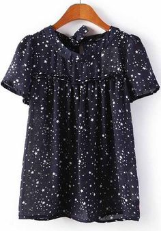 Multicolor Star Print Short Sleeve Wrap Chiffon Blouse