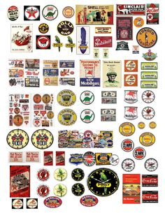 24 vintage gas station decals for diecast & model cars & dioramas Pompe A Essence, Vitrine Miniature, Model Train Layouts, Old Signs, Diecast Model Cars, Advertising Signs, Paper Models, Vintage Labels, Model Building