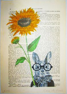 $12 Sunflower Rabbit - ORIGINAL ARTWORK Hand Painted Mixed Media on 1920 famous Parisien Magazine 'La Petit Illustration'