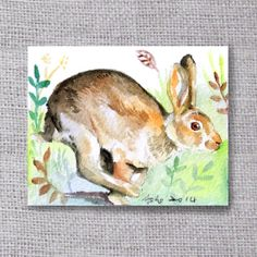 ooak Original Rabbit ACEO Watercolor Painting buy 3 get 1 by asho, $4.50