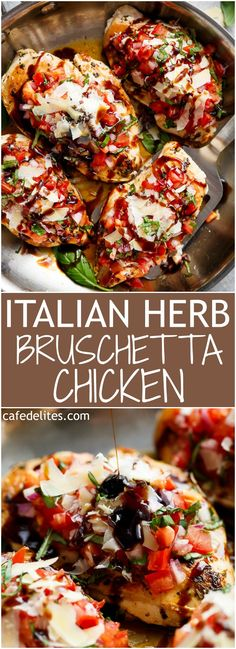 italian herb bruschetta chicken is a low carb alternative to a traditional bruschetta! transform ordinary chicken breasts into a delicious, flavorful meal! Italian Herb Bruschetta Chicken is exactly like the traditional crusty bread version, but … New Recipes, Low Carb Recipes, Healthy Recipes, Italian Food Recipes, No Carb Dinner Recipes, Lunch Recipes, Recipes With Fresh Italian Herbs, Italian Foods, Italian Cooking