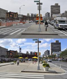 Delancey Street Redesign, NYC. Click for photo via NYCDOT & visit our popular Streets for Everyone board >> http://www.pinterest.com/slowottawa/streets-for-everyone/