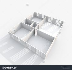 3d interior rendering perspective view of empty paper model home apartment
