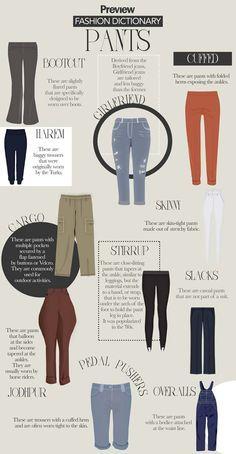 Fashion Terminology, Fashion Terms, Fashion 101, Fashion Outfits, Fashion Ideas, Fashion Sewing, Dress Fashion, Fashion Inspiration, Fashion Pants