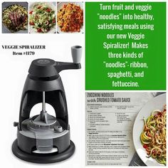 Pampered Chef Veggie Spiralizer www. Pampered Chef Party, Pampered Chef Recipes, Modern Stoves, Veggie Noodles, Cooking Tools, Kitchen Gadgets, Cool Kitchens, Veggies, Meals