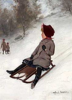 """""""Girl on Sledge"""" -- Axel Ender (1853 – 1920, Norwegian)"""