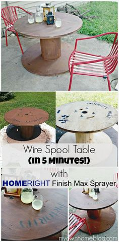 Wire Spool Outdoor Table + HomeRight Finish Max Sprayer Giveaway! - My Own Home