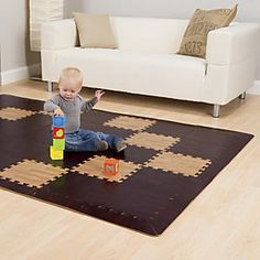 Wood-Grain Foam Puzzle Play Mats