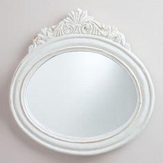 """$39.99 16.5"""" White Oval Adella Mirror"""