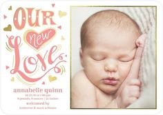 Celebrate the arrival of your new baby girl with this shimmering gold foil and posie pink birth announcement card.
