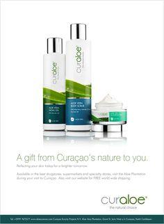 Packaging design for a curaloe, premium Aloe Vera skin care products.