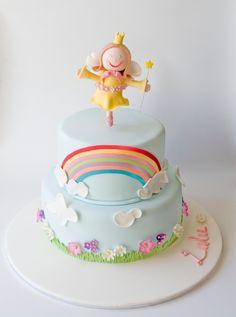 rainbows and fairies themed fondant cake