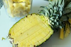 Score Flesh of Pineapple - be sure not to cut shell