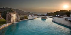 Relais & Chateaux - Petra Segreta Resort & Spa - San Pantaleo (Italy)  Sunset over the pool at the Petra Segreta, a charming small hotel situated in the countryside just outside the picturesque village of San Pantaleo, Sardinia.  #italy #paradise #sunset #swimming pool #relaischateaux #sardinia