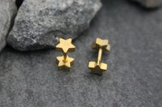 Gold Tragus Stud Gold Cartilage Earring Star Helix by MyBodiArt