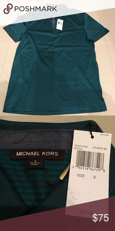 Michael Kors polo CHAMBRAY-TRIM COTTON-PIQUE POLO SHIRT in Atlantic green.  Brand new never worn.  Bought as a gift and was past the 30 day return/exchange timeframe. Michael Kors Shirts Polos