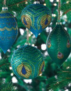 Peacock Feather Ornaments; homedecorators.com