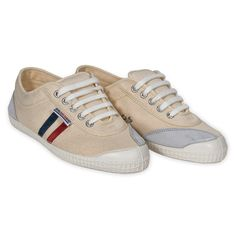 Backyard Footwear CREME WITH NAVY + RED STRIPES  Tired of the same old canvas sneakers?  Comfort and Scandinavian design make this handmade sneaker from Denmark your go to shoe.