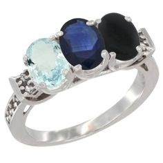10K White Gold Natural Aquamarine, Blue Sapphire and Black Onyx Ring 3-Stone Oval 7x5 mm Diamond Accent, sizes 5 - 10 ** Trust me, this is great! Click the image. : Jewelry Ring Bands