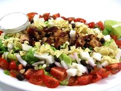 CPK's Original Barbecue Chicken Chopped Salad Made Skinny. This is California Pizza Kitchen's most popular salad. My skinny version has 407 calories, 10 grams of fat and 7 Weight Watchers POINTS PLUS. You can enjoy every bite of this huge main course salad, guilt-free!
