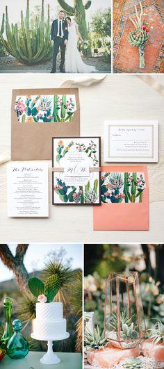 Desert/Cactus Wedding Inspiration By Beacon Lane #desert #wedding #cactus #invitations #inspiration #destination #mexico #palm
