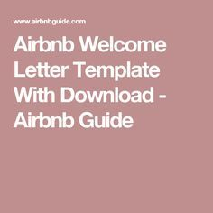 Airbnb Welcome Letter Template With Download - Airbnb Guide