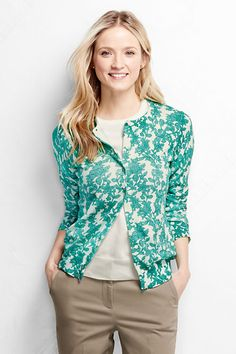 $30 Women's Supima Short Sleeve Floral Sweater from Lands' End ...