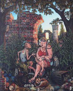 """Kkocham"" ""Llove"" Marek Idziaszek Oil painting on glass"