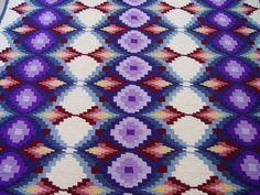 "Pattern - ""Bargello Beauty"" from ""Herrschners Blue-Ribbon Afghans""  Tunisian/afghan stitch crochet"