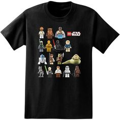 LEGO Star Wars Full Color Cast Characters Licensed Adult T-Shirt #tees #crossover #legostarwars #chewbacca #jabba #darthvader