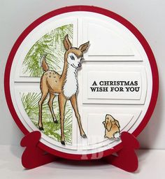 A Christmas Wish created by Frances Byrne using Large Circle Nestabilities - Spellbinders; Modern Patchwork #1 - Crealies; Card Stand/Easel - Elizabeth Craft Designs. Images from Stampendous