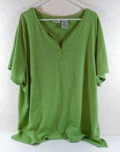 White Stag Plus Size 26W-28W Lime Green Short Sleeve Blouse  B242 #WhiteStag…