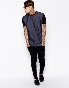 Stephen James ASOS T-Shirt With Woven Oxford Panel And Pocket ❤