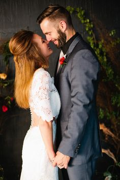 Southern Savvy Events | Bride & Groom Portrait | Wedding Gown | Modern Trousseau Gown | Charcoal Suit | Boutonniere | Cut-Out Wedding Gown | Sheer Back Wedding Gown | Bride Style | Alter | Vining Greenery Ceremony Backdrop | Natural Ceremony Decor