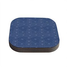Kess InHouse Julia Grifol 'White Flowers on Blue' Navy Blue Coaster, 4 by 4-Inch, Blue, Set of 4 *** Hurry! Check out this great product : Coasters Home Decor