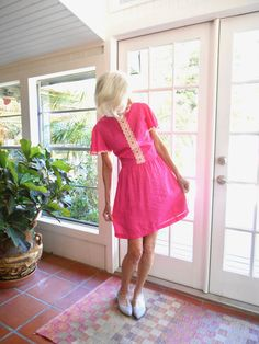 Vintage dark pink dress 1950's, 1960's metal zipper short length short sleeve spring summer: medium, large by BopandAwe on Etsy