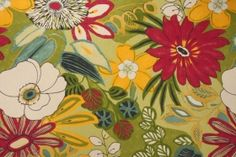Robert Allen Lilith Printed Cotton Drapery Fabric in Spring