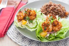 Latin-Spiced Shrimp in Butter Lettuce Cups with Red Quinoa & Poblano, Jicama and Orange Salad Recipe Red Quinoa Salad, Orange Salad, Quinoa Salad Recipes, Seafood Recipes, Cooking Recipes, Healthy Recipes, Skinny Recipes, Fish Recipes, Yummy Recipes